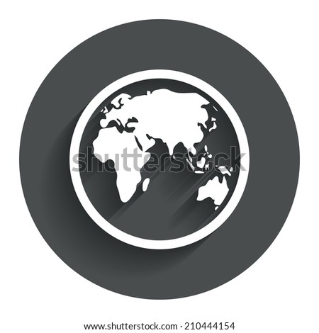 Globe sign icon world map geography stock illustration 210444154 world map geography symbol circle flat button with shadow modern gumiabroncs Choice Image