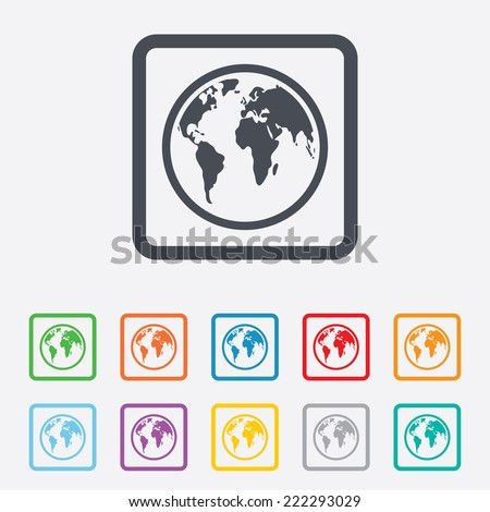 Globe sign icon. World map geography symbol. Round squares buttons with frame. - stock photo