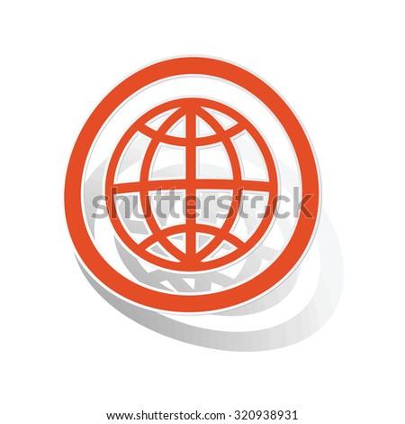 Globe sign sticker, orange circle with image inside, on white background - stock photo