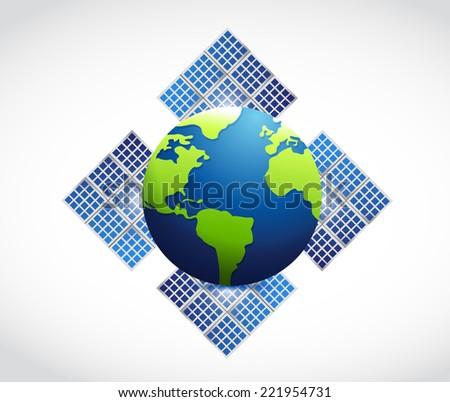 globe solar panel illustration design over a white background - stock photo