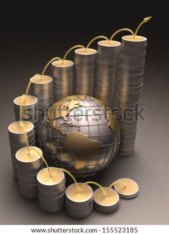 Globe surrounded by coins made of gold and silver forming a graph on the rise. - stock photo