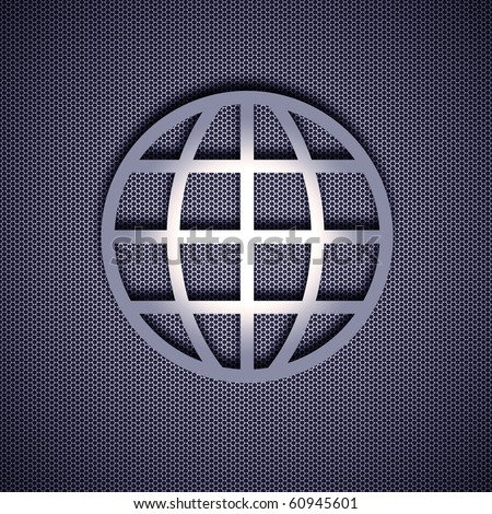 Globe symbol with 3d effect, symbol isolated on metal background. Steel background. - stock photo