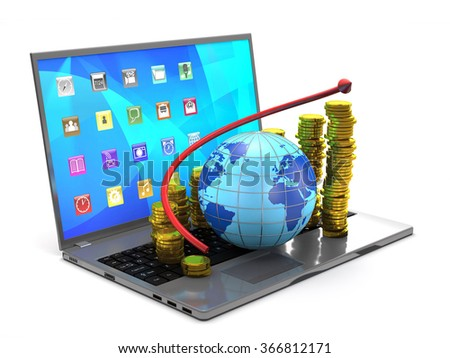 Globe, tablet pc, gold coins and red arrow on white background. - stock photo