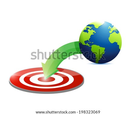 globe to target illustration design over a white background - stock photo