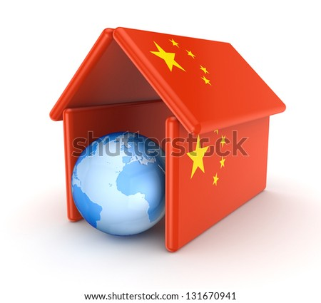 Globe under chinese flag.Isolated on white background.3d rendered. - stock photo