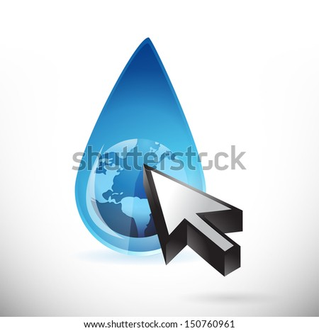 globe water and cursor illustration design over a white background - stock photo