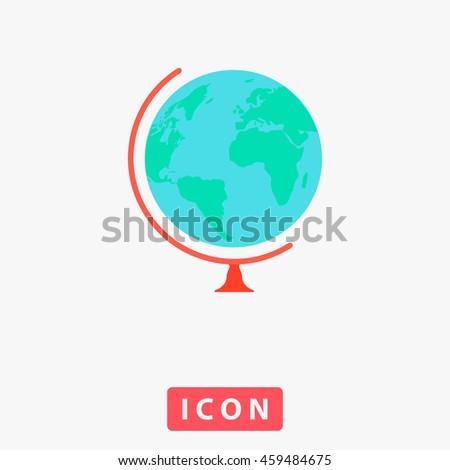 Globe. White circle button on black background - stock photo