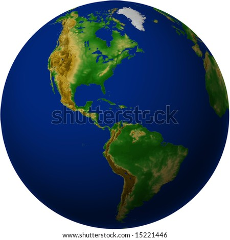 Globe with Americas View with Terrain