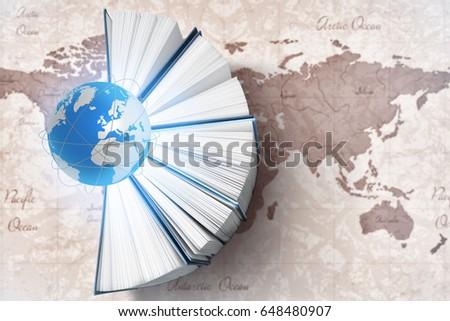 Globe books world map on background stock photo royalty free globe with books and world map on background world literature concept gumiabroncs Choice Image