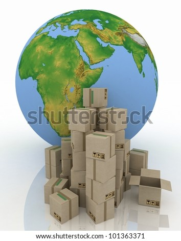 Globe with carton boxes on a white background - stock photo