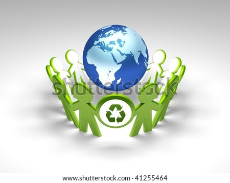 Globe with children with green arrow. - stock photo