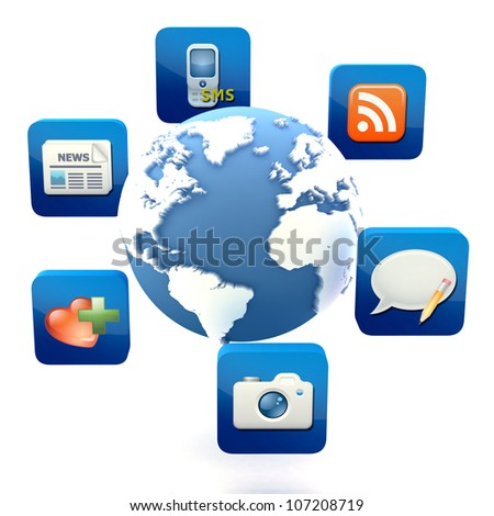 Globe with cloud of application icons  Note: All Devices design and all screen interface graphics in this series are designed by the contributor him self. - stock photo