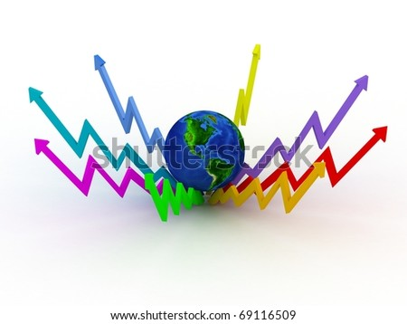 Globe with color business graphs