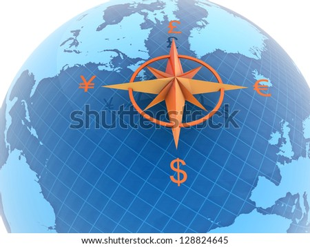 Globe with currency symbols - stock photo