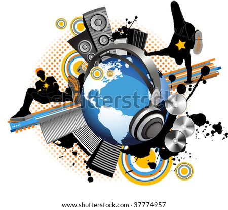 Globe with dancing youth men. Music city. Raster version of vector illustration. - stock photo