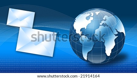 Globe with email and binary code - stock photo