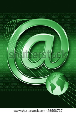 globe with email envelope, email concept - stock photo