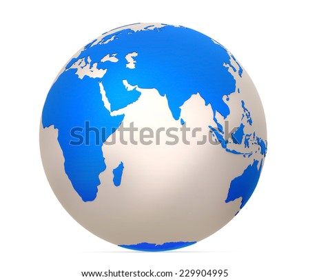 Globe with Eurasia and Indian Ocean in the foreground. 3d model of Earth Planet isolated on white - stock photo