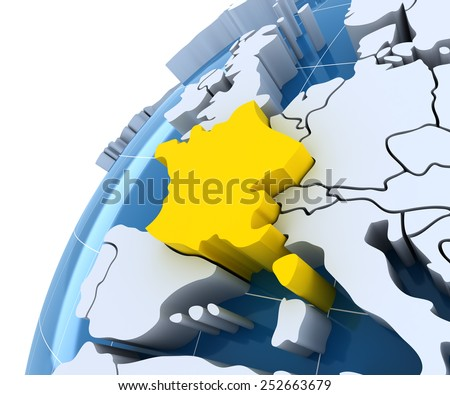Globe with extruded continents, close-up on France, 3d render - stock photo