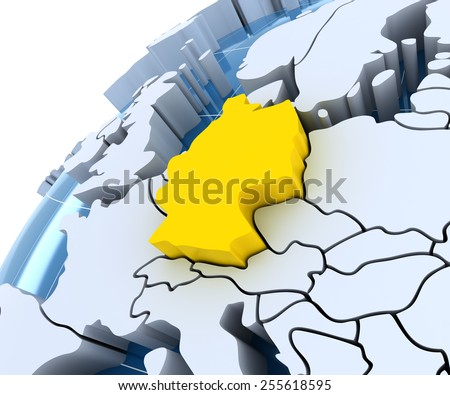 Globe with extruded continents, close-up on Germany, 3d render - stock photo