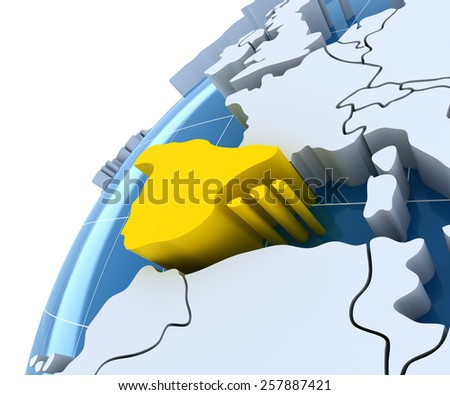 Globe with extruded continents, close-up on Spain, 3d render - stock photo