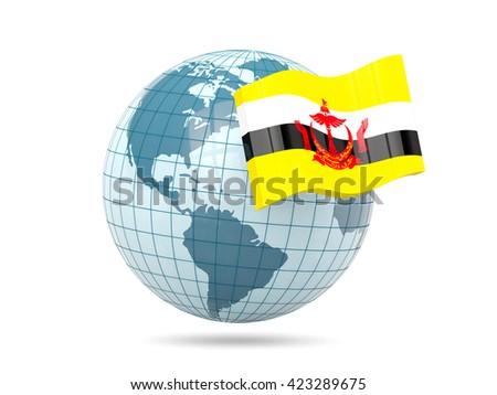 Globe with flag of brunei. 3D illustration - stock photo
