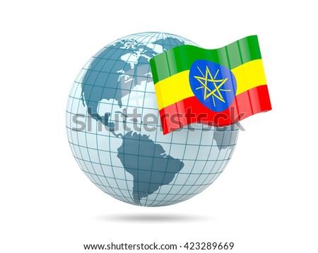 Globe with flag of ethiopia. 3D illustration - stock photo