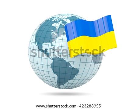 Globe with flag of ukraine. 3D illustration - stock photo
