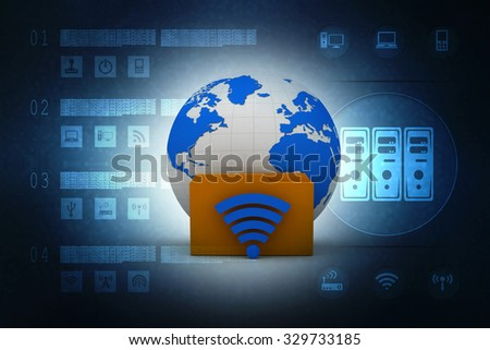 GLOBE WITH FOLDER AND WIFI - 3D