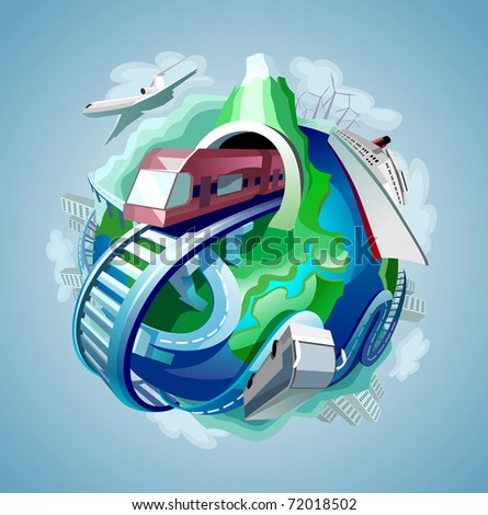 globe with four types of transport for travelling moving around it - stock photo