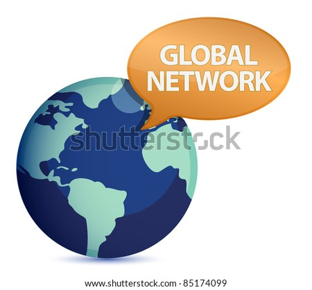 Globe with global network message illustration