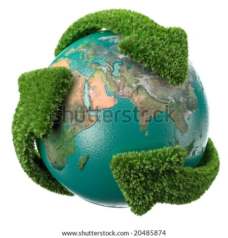 Globe with green arrows covered with leafs. Please see my other ecology related illustrations. - stock photo