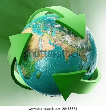 Globe with green arrows. Tiff file includes alpha channel. - stock photo
