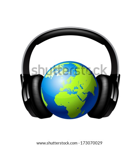 Globe with headphones. Raster copy