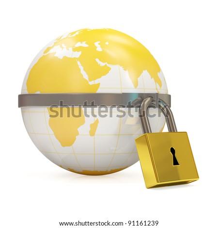 Globe with Lock on white background - stock photo