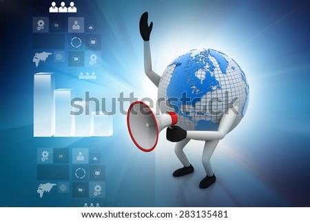 Globe with loudspeaker - stock photo