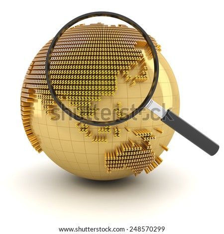 Globe with magnifying glass, economy outlook concept, 3d render - stock photo
