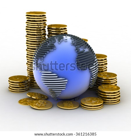 Globe with many gold coins - stock photo