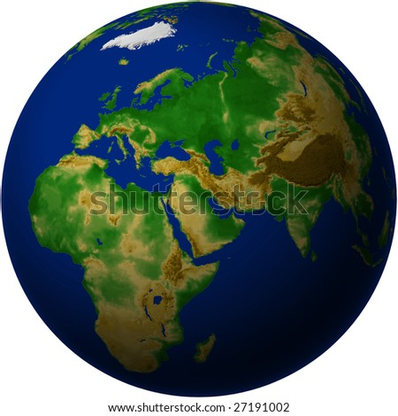 Globe with Middle East View - Blue Marble