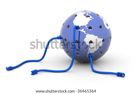 Globe with network cables connected