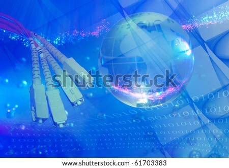 globe with network on technology fiber optics background - stock photo