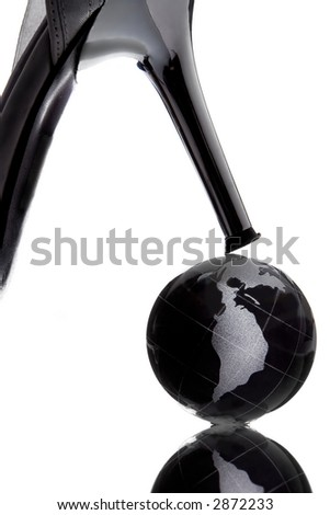 globe with North America continent to be henpecked on white background - stock photo