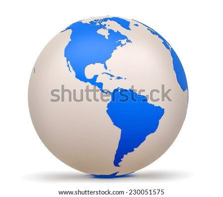 Globe with North and South America in the foreground. 3d model of Earth Planet isolated on white - stock photo