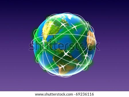 globe with plane - stock photo
