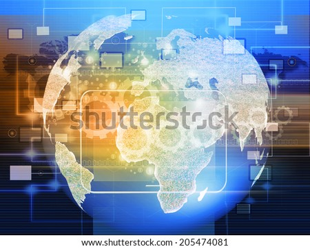 Globe with pointers, signals and social networking icons