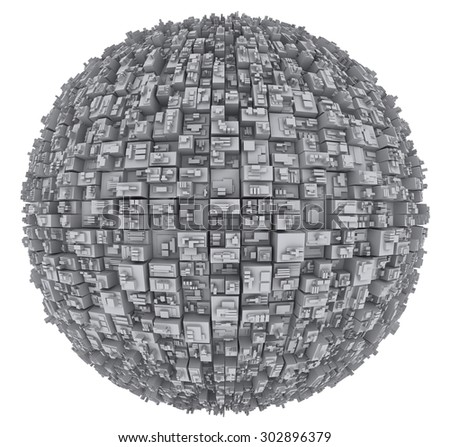 Globe with skyscrapers on a white background - stock photo