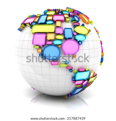 Globe with speech bubbles, 3d render, white background - stock photo