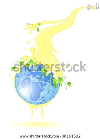 globe with splashes of yellow paint and flowers of daffodil