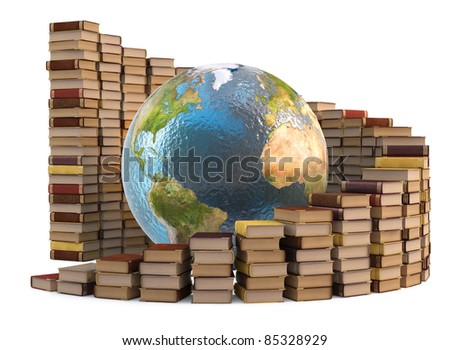 globe with stacks of books. isolated on white. - stock photo