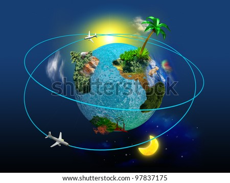 Globe with the continents and trees on a blue background with swirling air around it. Concept of traveling around the world.